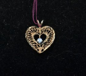 14kt Diamond Filigree Heart Pendant