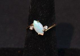 14kt Opal & Diamond Ring - Size