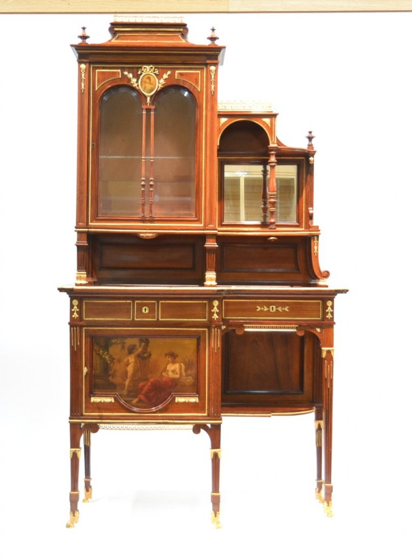 LXVI STYLE FRENCH ROSEWOOD ETAGERE CABINET