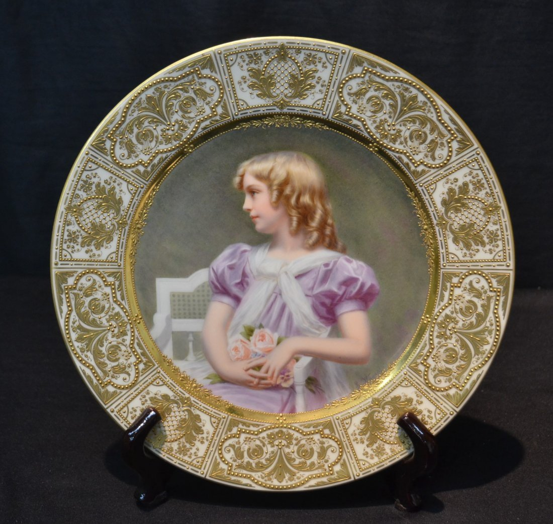 HAND PAINTED ROYAL VIENNA PORTRAIT PLATE OF YOUNG
