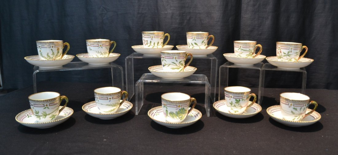 SET OF (12) FLORA DANICA CUPS & SAUCERS BY