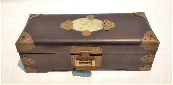 CHINESE WOOD DRESSER BOX WITH JADE INSERT