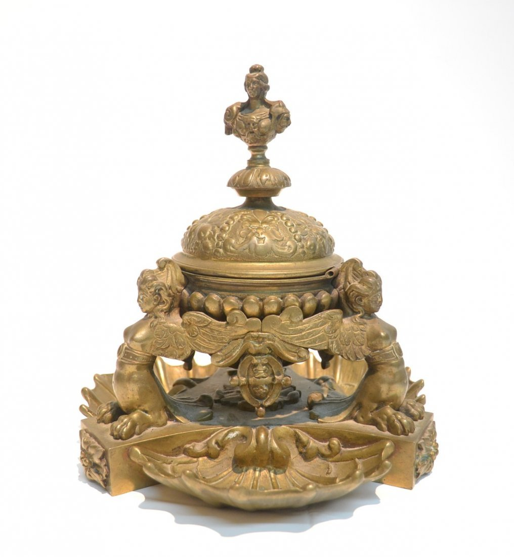 BRONZE SHELL FORM INKWELL WITH (3) WINGED