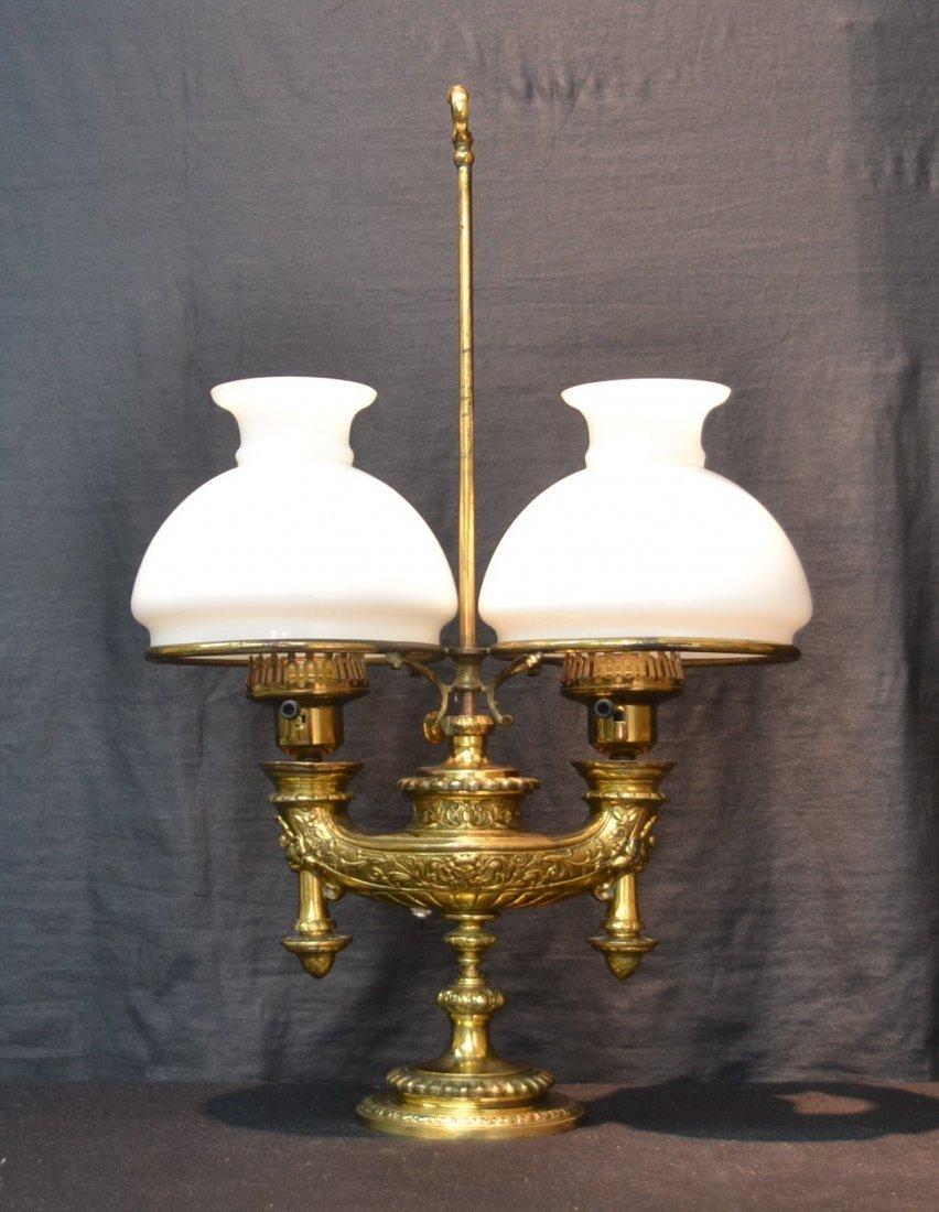 """BRONZE DOUBLE STUDENT LAMP - 16"""" x 25"""""""