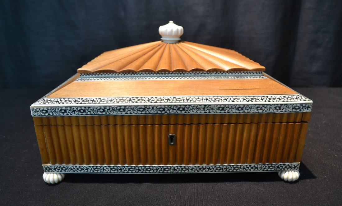 BONE INLAID SEWING BOX WITH FITTED COMPARTMENT