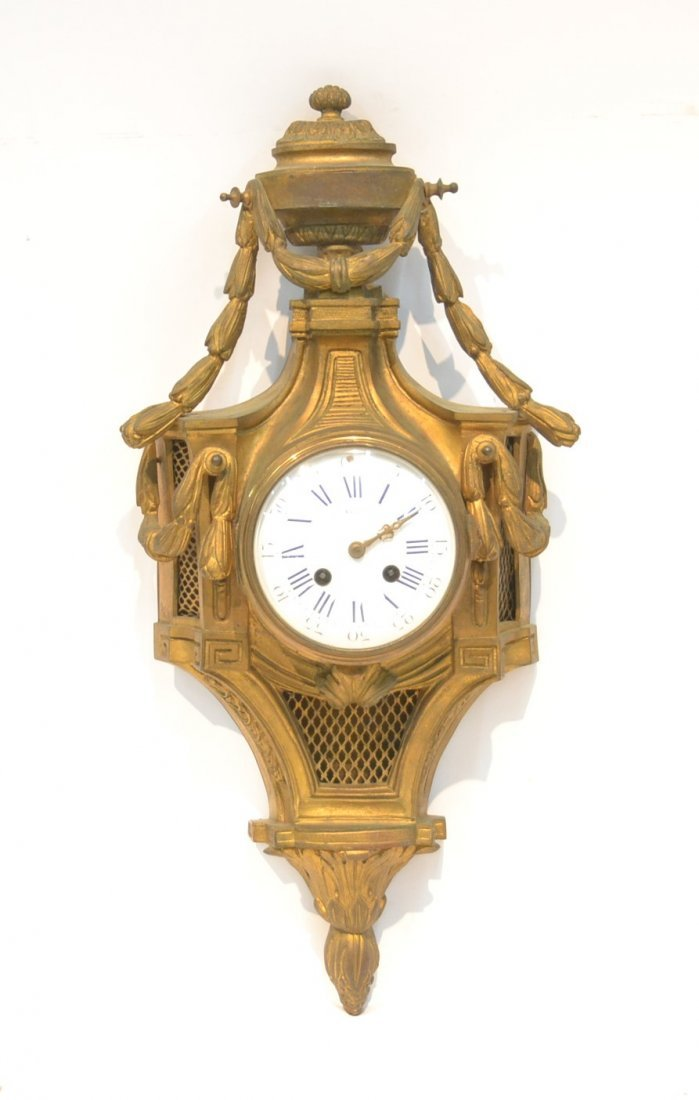 19thC BRONZE CARTEL CLOCK WITH GARLANDS & URN