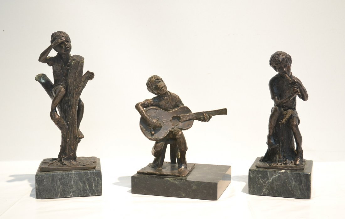 BRONZE BOY WITH GUITAR , SIGNED SANDERS ,