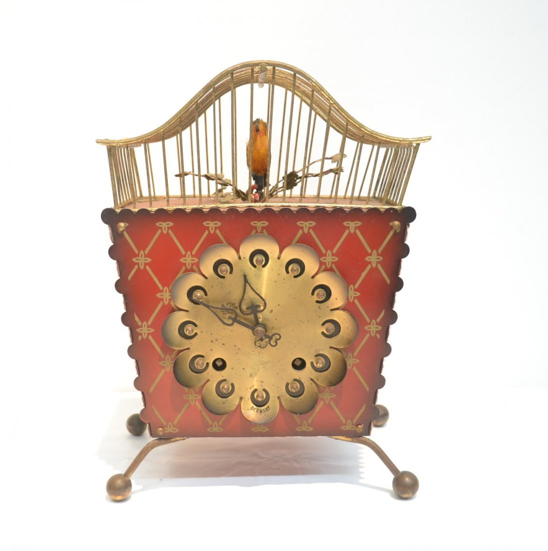 GERMAN AUTOMATON BIRDCAGE CLOCK