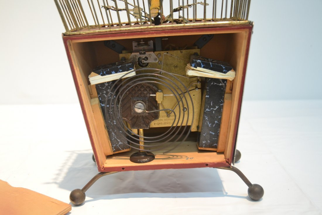 GERMAN AUTOMATON BIRDCAGE CLOCK - 7