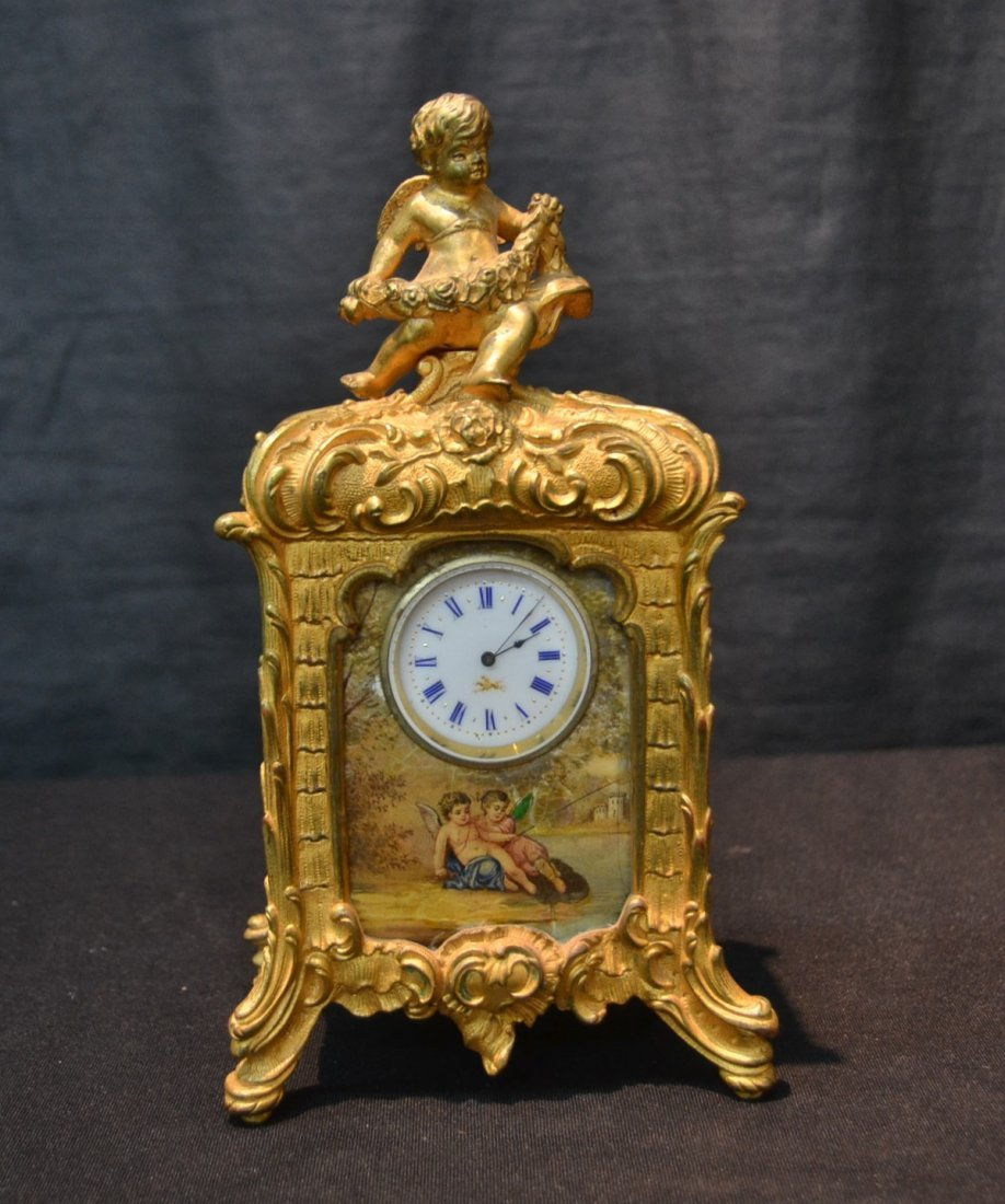 FRENCH BRONZE CABINET CLOCK WITH HAND PAINTED