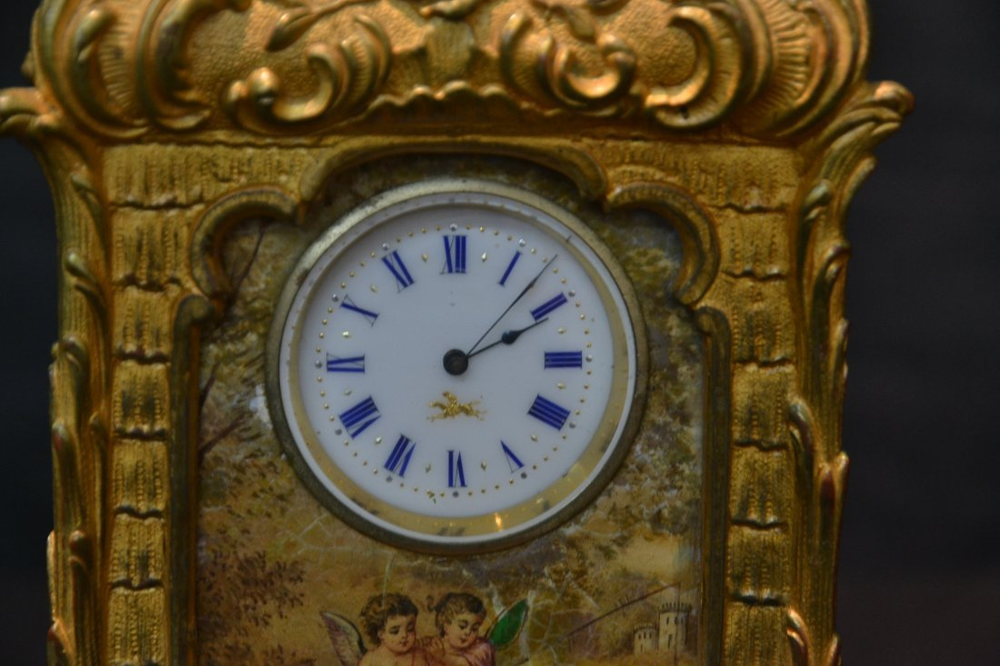 FRENCH BRONZE CABINET CLOCK WITH HAND PAINTED - 3