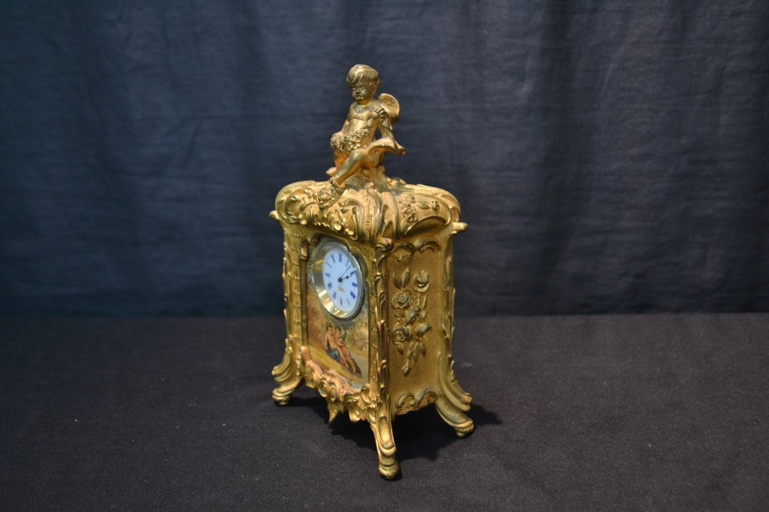 FRENCH BRONZE CABINET CLOCK WITH HAND PAINTED - 5
