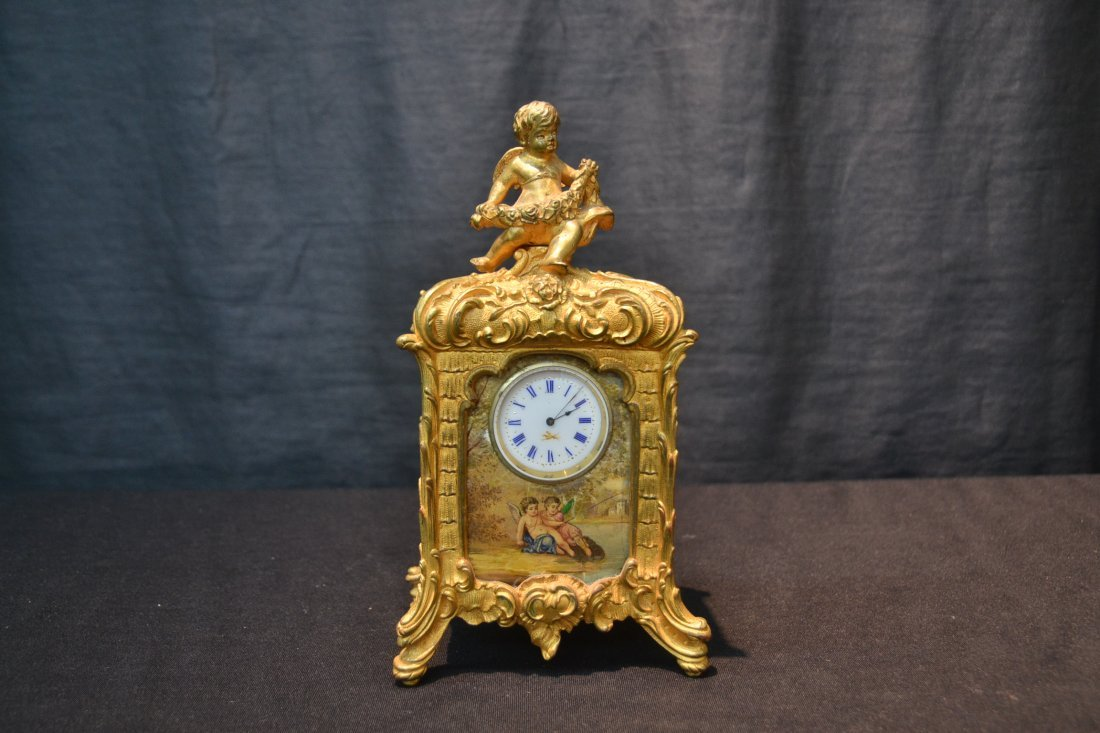 FRENCH BRONZE CABINET CLOCK WITH HAND PAINTED - 8