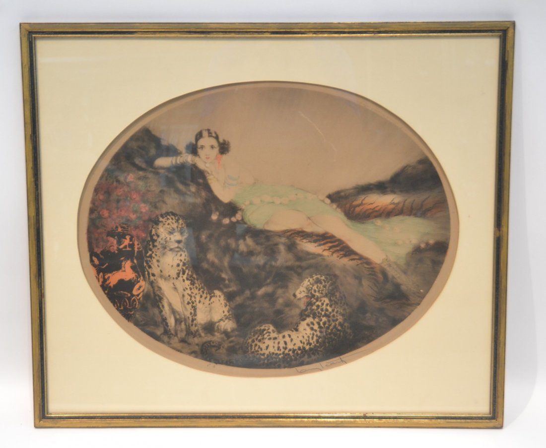 """OVAL LOUIS ICART """"THAIS"""" LITHOGRAPH OF"""