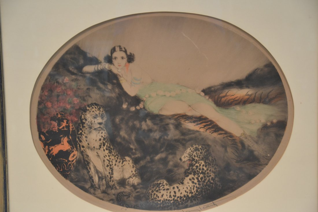 """OVAL LOUIS ICART """"THAIS"""" LITHOGRAPH OF - 2"""