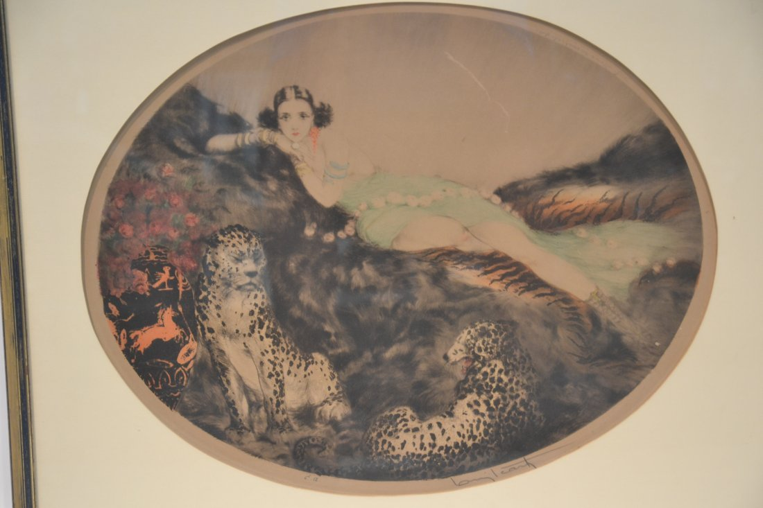 """OVAL LOUIS ICART """"THAIS"""" LITHOGRAPH OF - 3"""