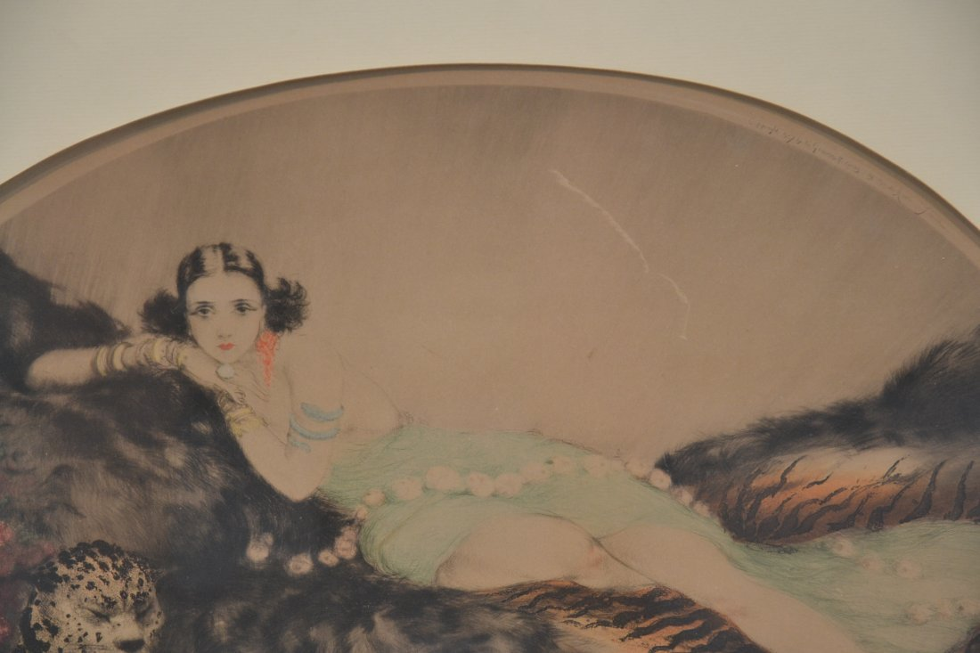 """OVAL LOUIS ICART """"THAIS"""" LITHOGRAPH OF - 4"""