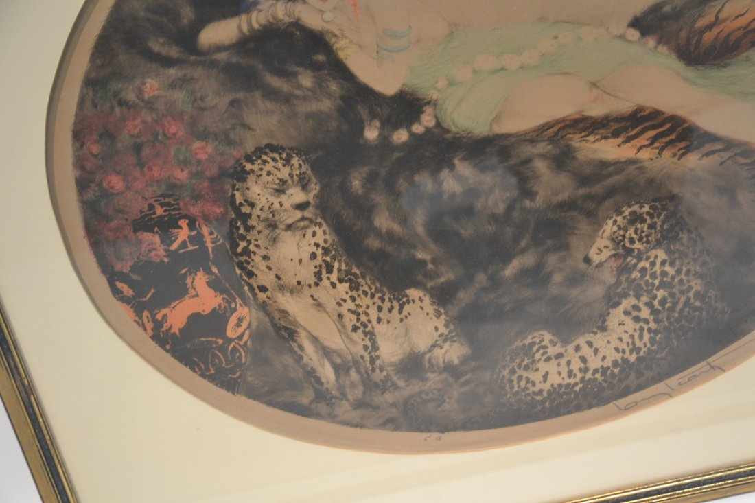 """OVAL LOUIS ICART """"THAIS"""" LITHOGRAPH OF - 6"""