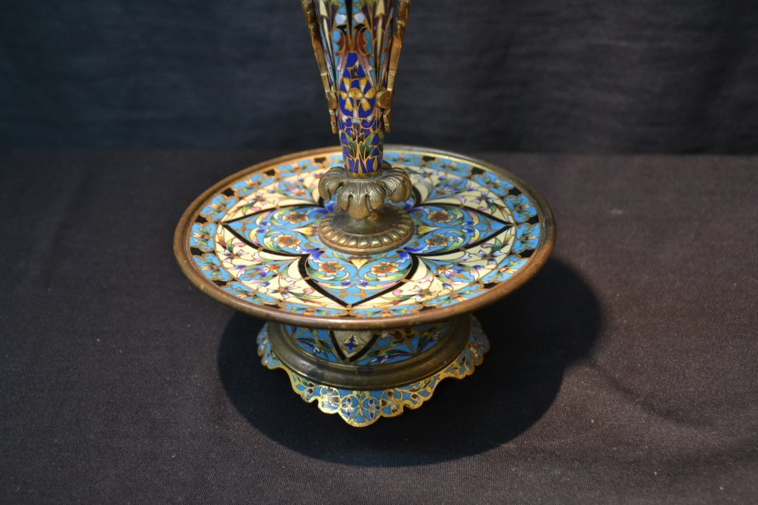 BRONZE CHAMPLEVE EPERGNE WITH WINGED DRAGON - 5