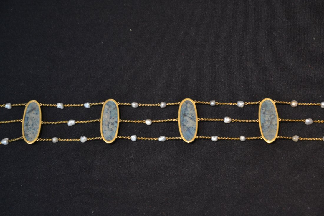 14kt TRIPLE STRAND SEED PEARL NECKLACE WITH - 6