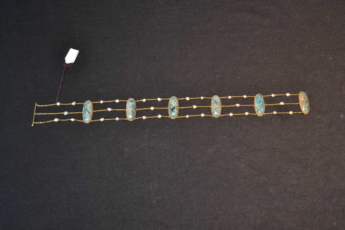 14kt TRIPLE STRAND SEED PEARL NECKLACE WITH - 8
