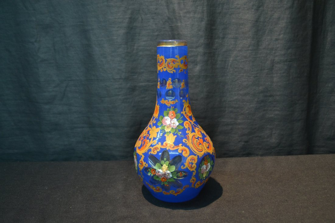 PERSIAN VASE WITH ENAMELED FLOWERS - 4