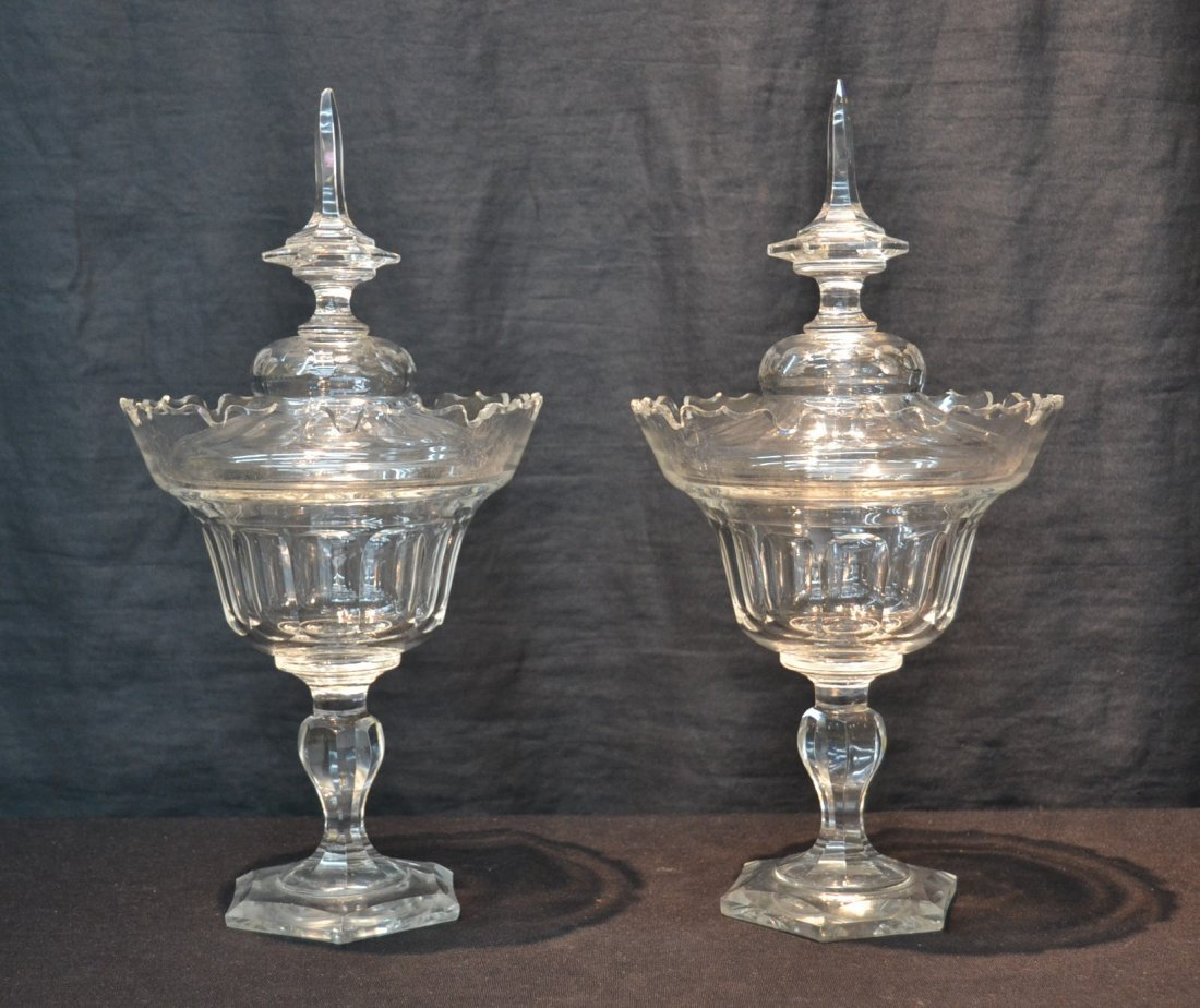 (Pr) BOHEMIAN CUT GLASS COVERED TAZZA