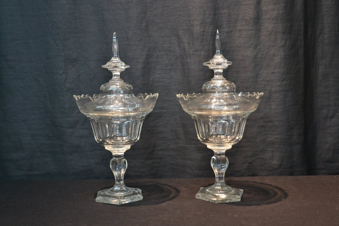 (Pr) BOHEMIAN CUT GLASS COVERED TAZZA - 2