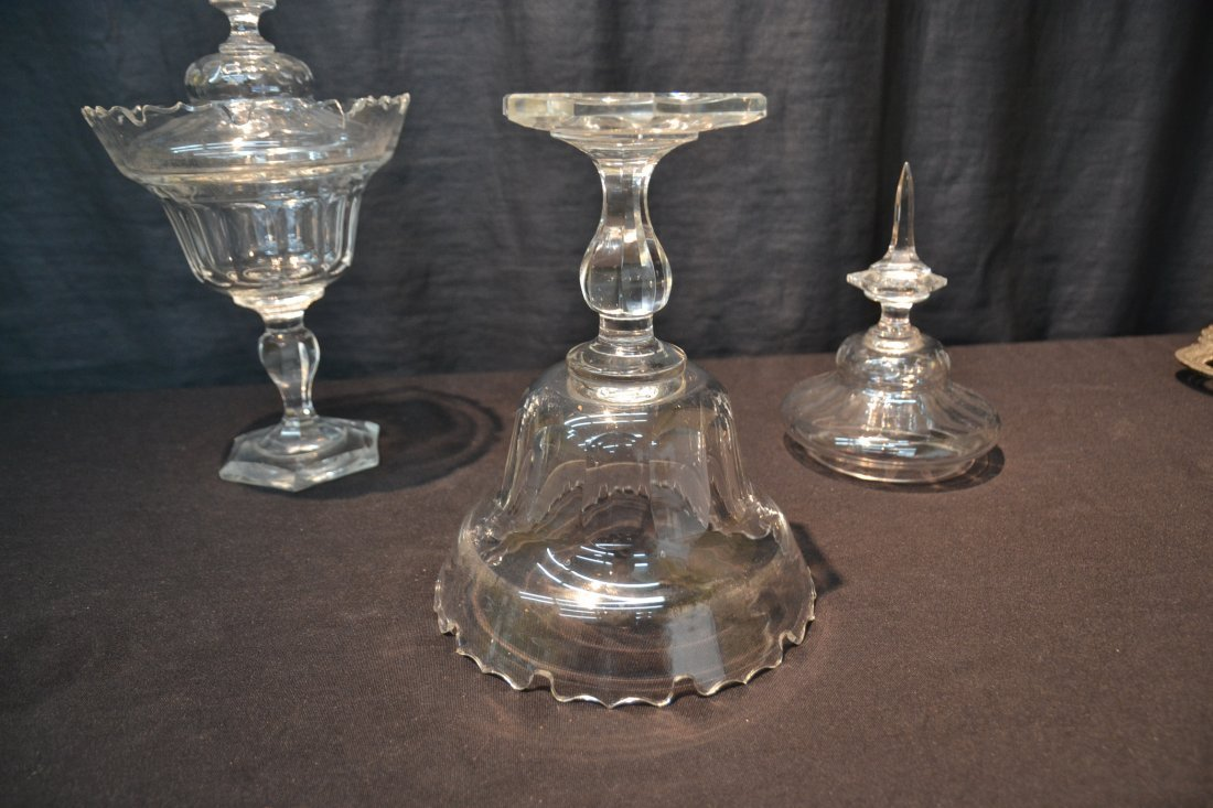 (Pr) BOHEMIAN CUT GLASS COVERED TAZZA - 6