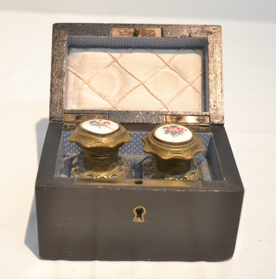 INLAID PERFUME BOX WITH ENAMEL BOTTLES &