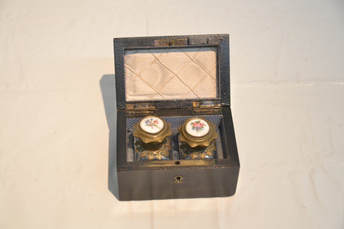 INLAID PERFUME BOX WITH ENAMEL BOTTLES & - 3