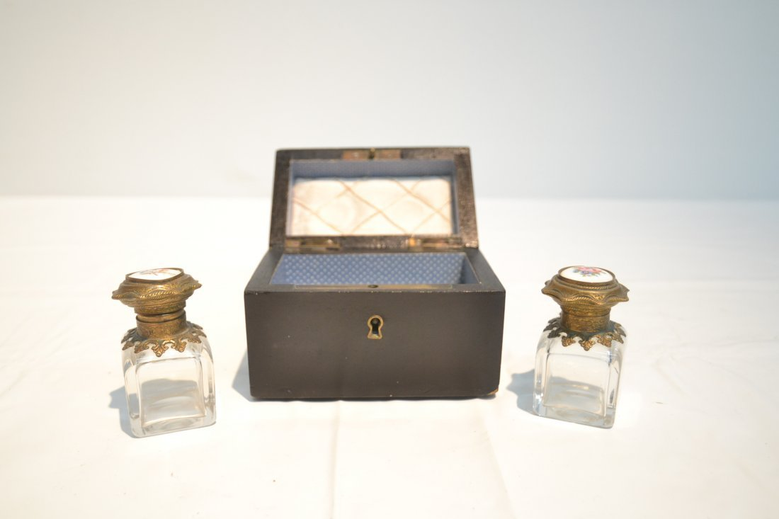 INLAID PERFUME BOX WITH ENAMEL BOTTLES & - 4
