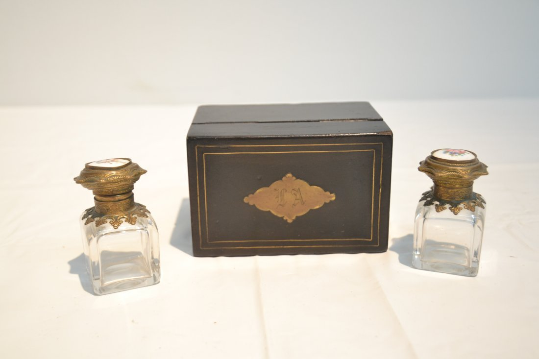 INLAID PERFUME BOX WITH ENAMEL BOTTLES & - 6