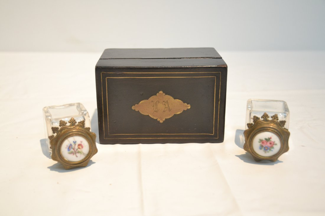 INLAID PERFUME BOX WITH ENAMEL BOTTLES & - 7