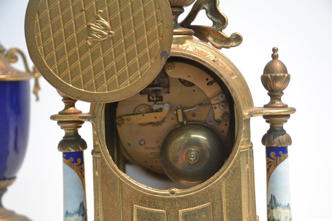 (3)pc FRANZ HERMLE GILT METAL CLOCK SET WITH - 6