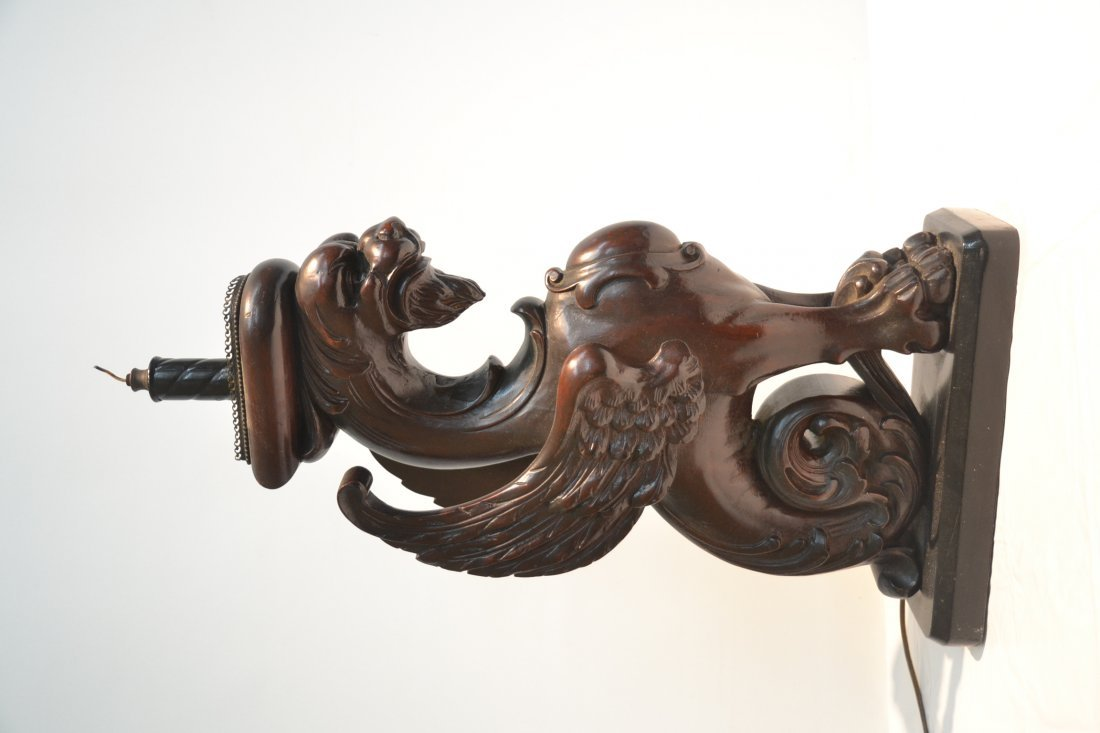 CARVED WOOD GRIFFIN LAMP - 3