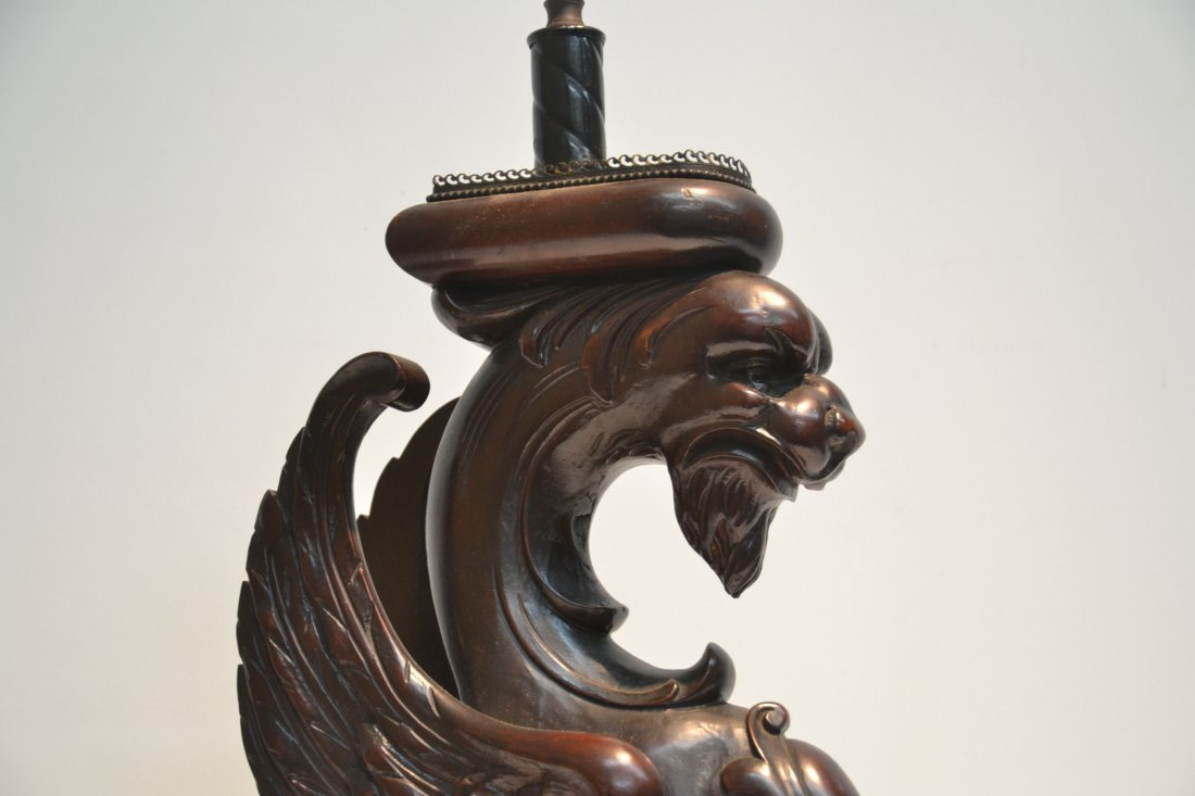 CARVED WOOD GRIFFIN LAMP - 4