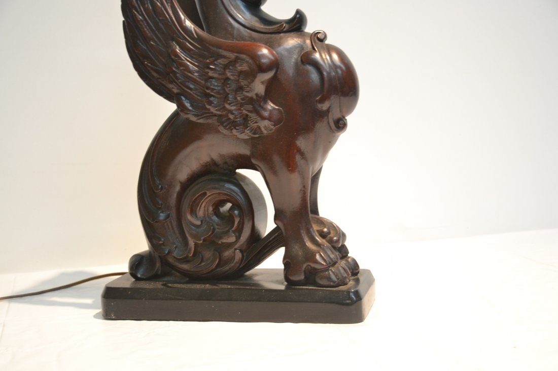 CARVED WOOD GRIFFIN LAMP - 5