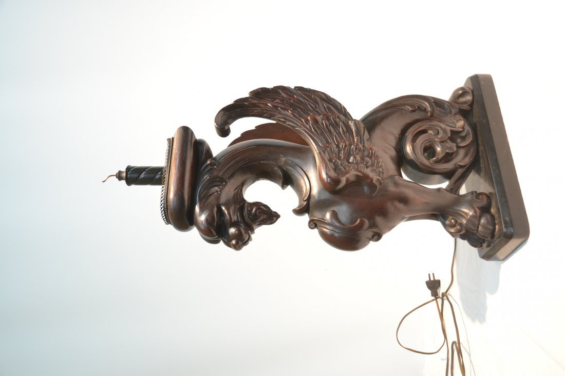 CARVED WOOD GRIFFIN LAMP - 6
