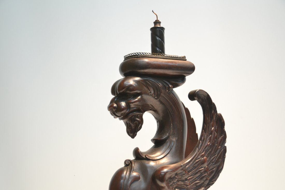 CARVED WOOD GRIFFIN LAMP - 7