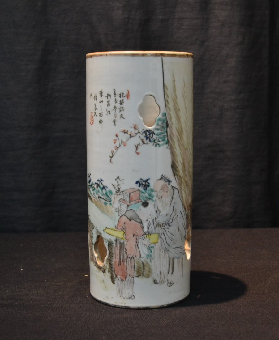 ORIENTAL PORCELAIN HAT STAND WITH FIGURES