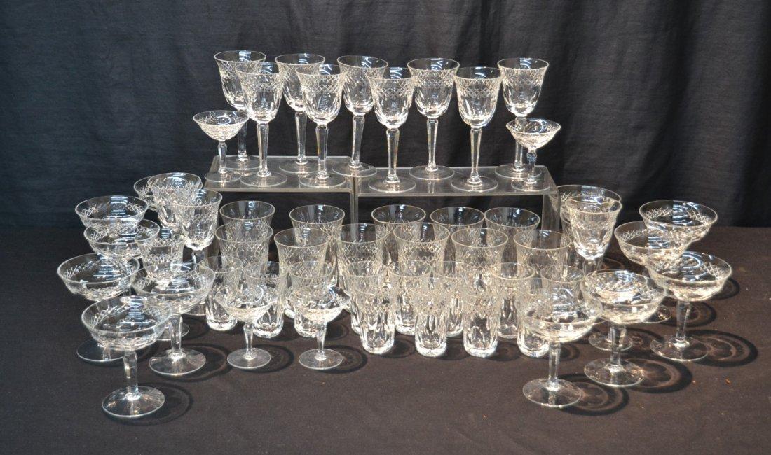 CUT GLASS STEMWARE TO INCLUDE (12) CHAMPAGNE ,