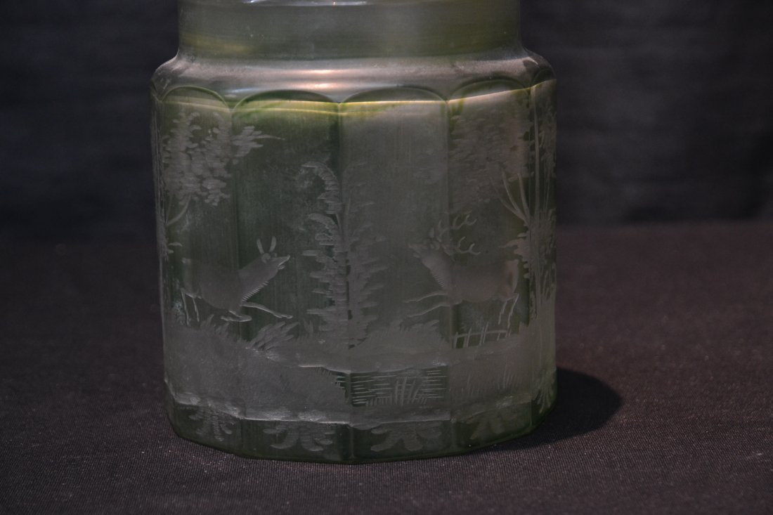 ETCHED GREEN BOHEMIAN TOBACCO JAR WITH - 2