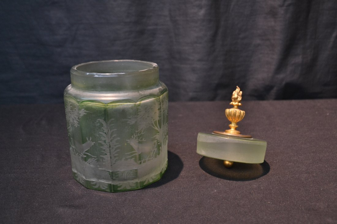 ETCHED GREEN BOHEMIAN TOBACCO JAR WITH - 3