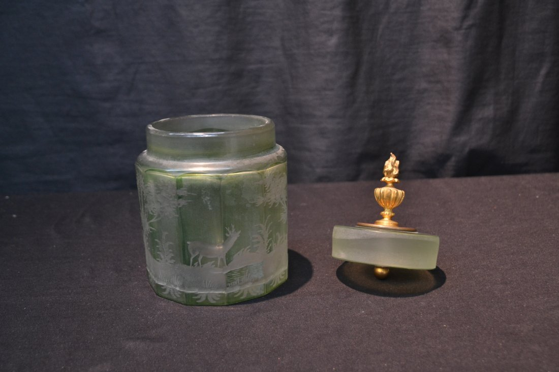 ETCHED GREEN BOHEMIAN TOBACCO JAR WITH - 4
