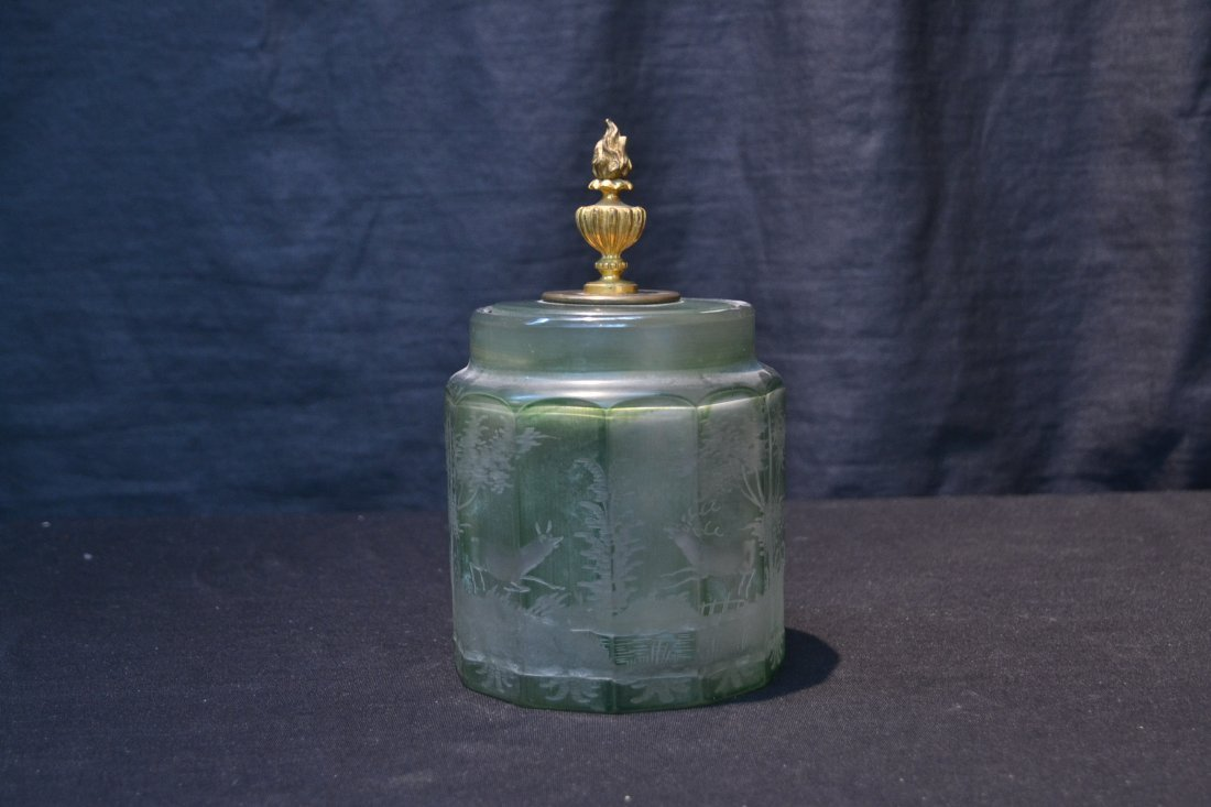 ETCHED GREEN BOHEMIAN TOBACCO JAR WITH - 7