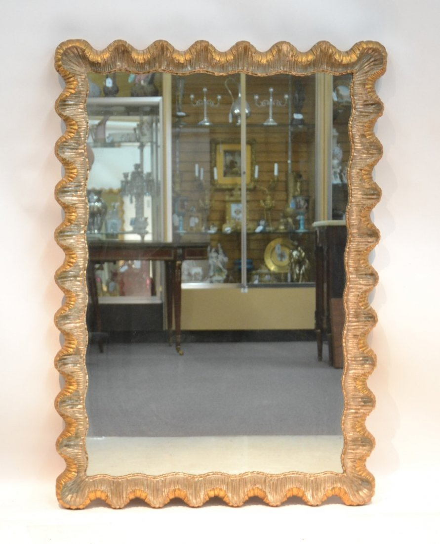 ITALIAN SILVER & GOLD CARVED GILTWOOD MIRROR