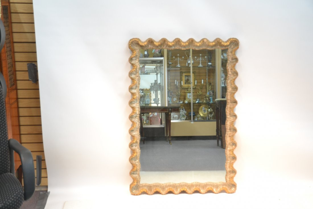 ITALIAN SILVER & GOLD CARVED GILTWOOD MIRROR - 6