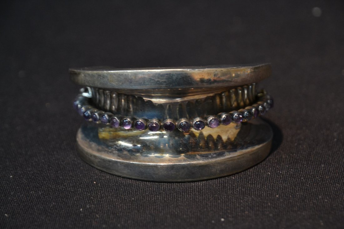 LARGE MEXICO STERLING CUFF BRACELET WITH - 2