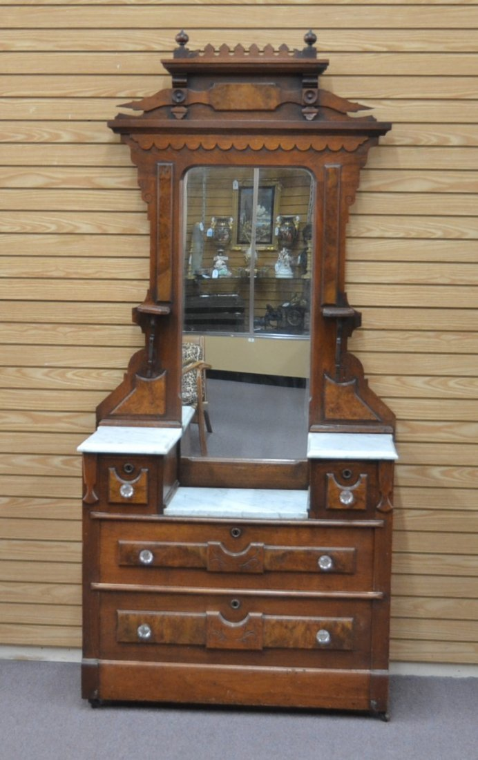 EASTLAKE VICTORIAN DEEP WELL MARBLE TOP DRESSER